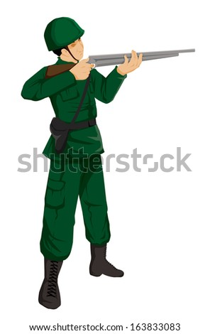 Illustration of a soldier action figure - stock photo