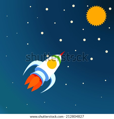Illustration of a space rocket. - stock photo