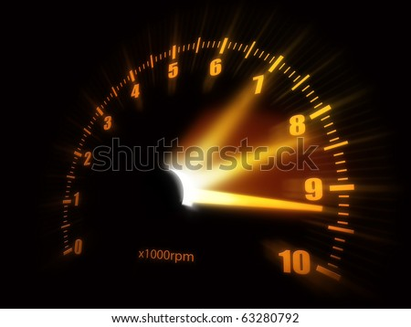 Illustration of a speedometer. - stock photo