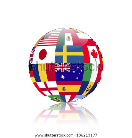 Illustration of a sphere with flags from various countries. - stock photo