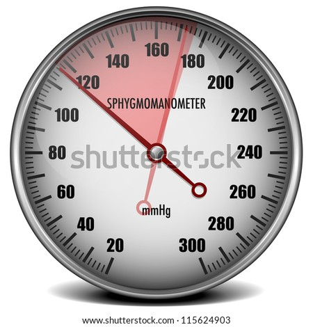 illustration of a sphygmomanometer with a red marked range indicating high blood pressure - stock photo