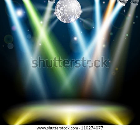 Illustration of a spotlit disco dance floor with mirror ball or disco ball - stock photo