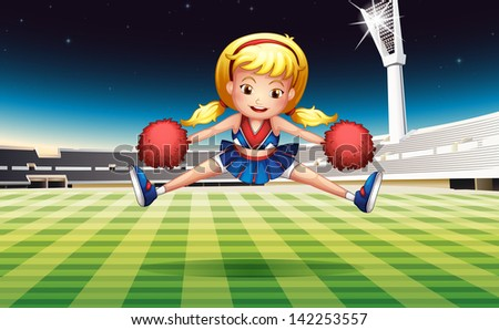 Illustration of a stadium with an energetic cheerdancer - stock photo