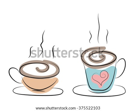 Illustration of a steaming hot coffee or tea cups with heart - stock photo