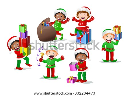 illustration of a stock colored cartoon dwarf elf on  isolated white background - stock photo