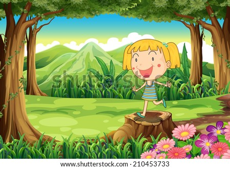 Illustration of a stump with a cute little girl - stock photo