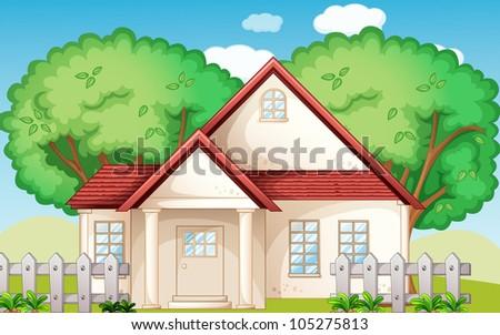 Illustration of a suburban house - stock photo