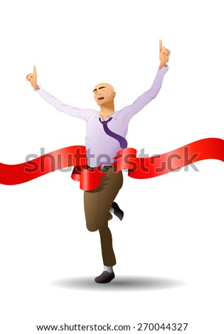illustration of a succesful running businessman reach goal in isolated white background - stock photo
