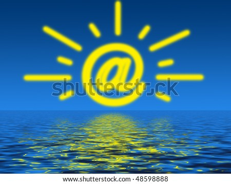 Illustration of a sunrise or a sunset of Internet - stock photo