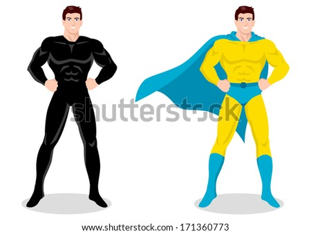 Illustration of a superhero posing  - stock photo