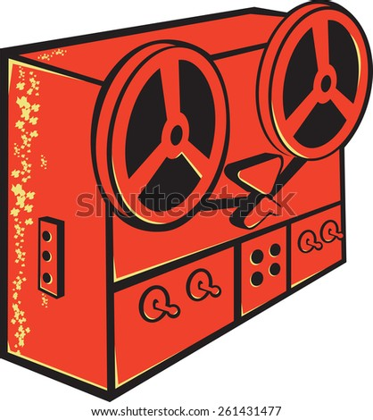 Illustration of a tape recorder, tape deck, reel-to-reel tape deck, cassette deck or tape machine done in retro style on isolated white background. - stock photo