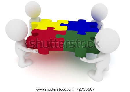 Illustration of a team  putting together puzzle pieces.  Part of my cute little people series. - stock photo