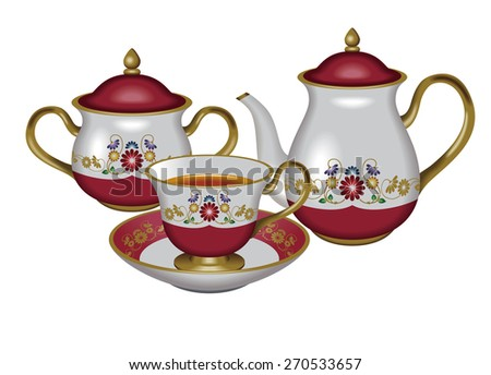 Illustration of a teapot, a sugar pot and a teacup./ Red. / Tea, Herbal tea, Oolong tea. - stock photo