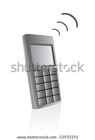 Illustration of a telephone isolated on a white background - stock photo
