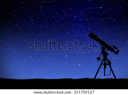 Illustration of a telescope watching the wilky way - stock photo