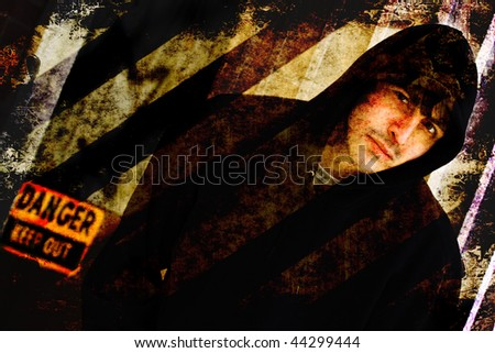 Illustration of a tough looking guy posing in an urban setting with grunge effects. - stock photo