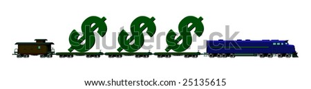 illustration of a train carrying dollar signs on flatbed rail cars - stock photo