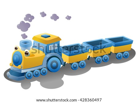 illustration of a train transportation vehicle on isolated white background - stock photo