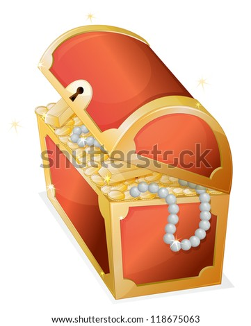 illustration of a treasure box on a white background - stock photo