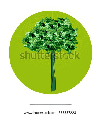 Illustration of a tree with green circle background - stock photo
