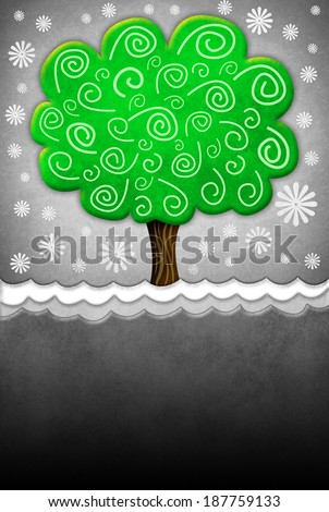 Illustration of a tree with old grunge paper texture - Copy space - ready for your text  - stock photo