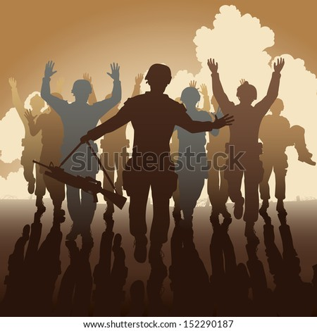 Illustration of a troop of defeated soldiers surrendering - stock photo
