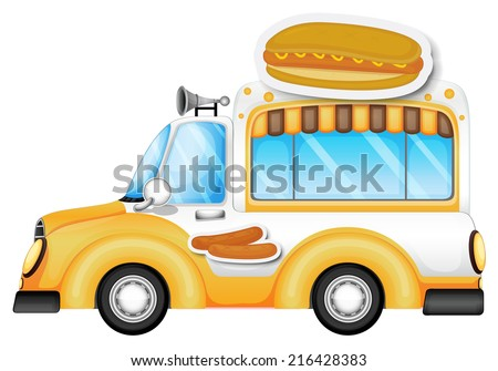 Illustration of a vehicle selling buns and hotdogs on a white background - stock photo