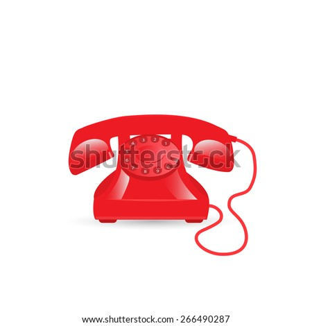 Illustration of a vintage phone isolated on a white background. - stock photo