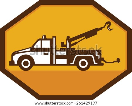 Illustration of a vintage tow wrecker truck viewed from the side set inside octagon done in retro style on isolated background. - stock photo