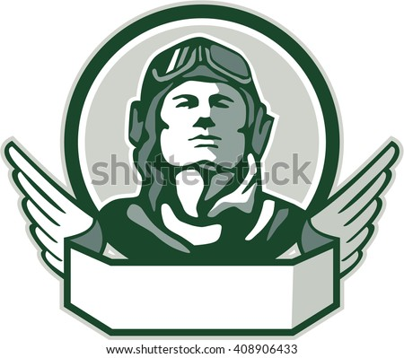 Illustration of a vintage world war one pilot airman aviator bust looking up viewed from front with winged scroll in front set inside circle done in retro style.  - stock photo