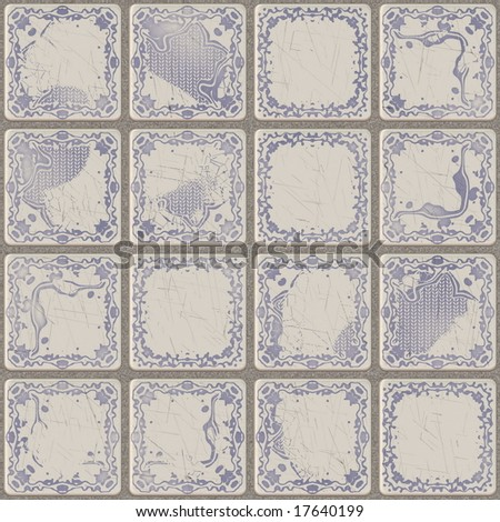 illustration of a wall of tiles in various complementary patterns - stock photo