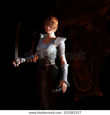 Illustration of a warrior woman with a dragon sneaking up behind her - stock photo
