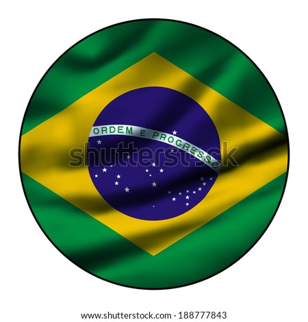 Illustration of a waving flag in a round circle - Brazil - stock photo