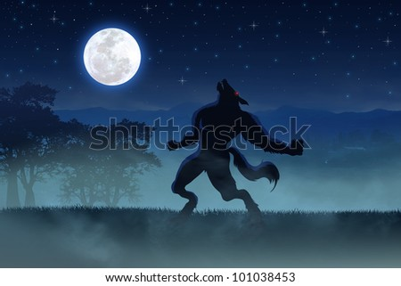 Illustration of a werewolf during the full moon - stock photo