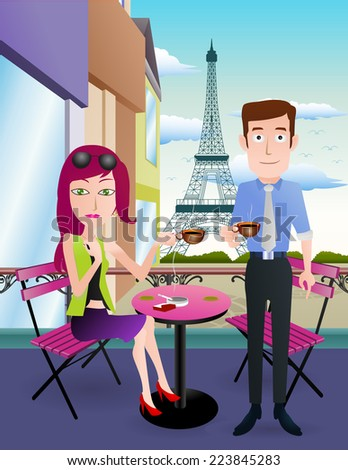 illustration of a woman and man on coffee lounge ready to drink coffee on eiffel tower background - stock photo