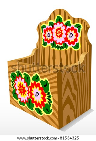 Illustration of a wooden casket with a pattern - stock photo
