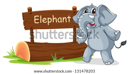 Illustration of a wooden signboard with a gray elephant on a white background - stock photo