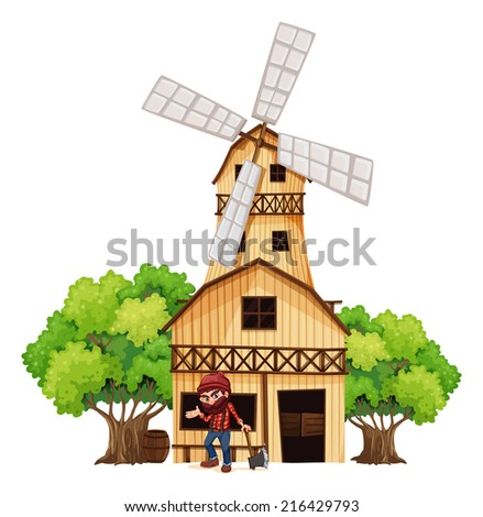 Illustration of a woodman holding an axe beside the wooden building on a white background - stock photo