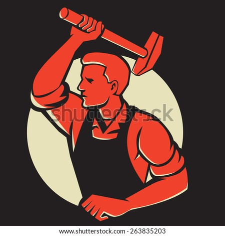 Illustration of a worker with hammer striking viewed from side done in retro style. - stock photo