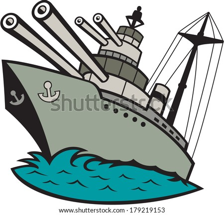 Illustration of a world war two naval battleship boat with big guns at sea done in cartoon style on isolated background. - stock photo