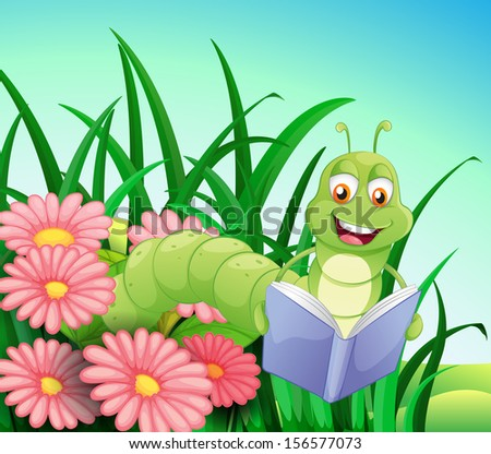 Illustration of a worm reading a book - stock photo