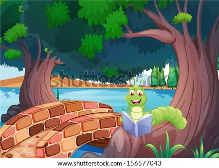 Illustration of a worm reading a book near the bridge - stock photo