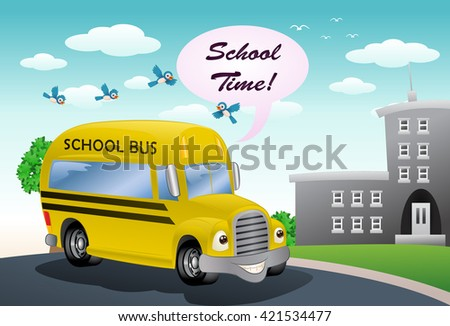illustration of a yellow school bus on school background - stock photo