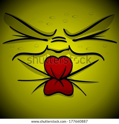 Illustration of a yellow squinting or puckering face illustration  - stock photo