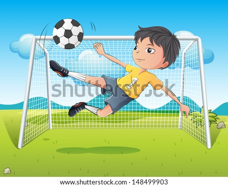 Illustration of a young gentleman kicking a soccer ball - stock photo