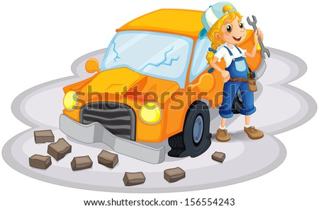 Illustration of a young girl fixing an orange car on a white background - stock photo