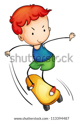 Illustration of a young skateboarder - stock photo