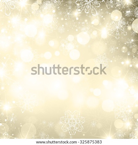 Illustration of Abstract Abstract Golden Christmas Winter Background, Copyspace - stock photo