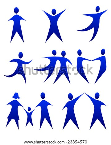 illustration of abstract figure movements - stock photo