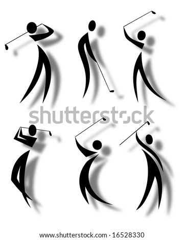 illustration of abstract golf icons - stock photo